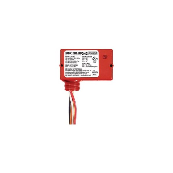 funrib21cdc-rd, functional devices, enclosed pilot relay,class2 dry contact  input,120-277vac pwr, 10a spdt red hsg